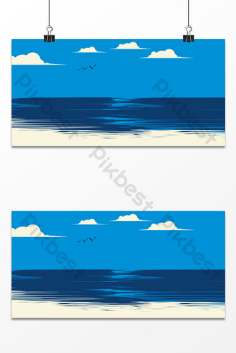 Blue sea blue sky flying birds simple strokes hand drawn vacation summer background Backgrounds Template PSD