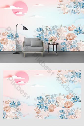 nueva pequeña pared de fondo en relieve flor tridimensional verde menta fresca 3d Decoración y modelo Modelo TIF