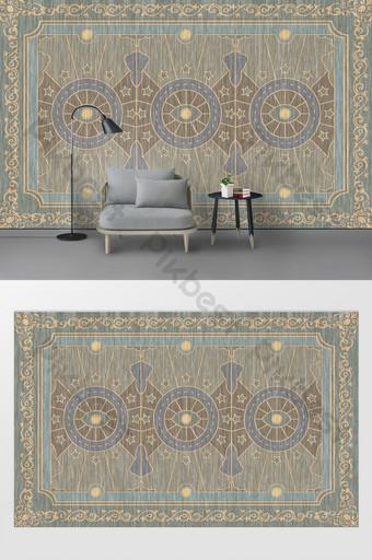 歐式簡約浮雕木紋客廳臥室背景牆 裝飾·模型 模板 PSD