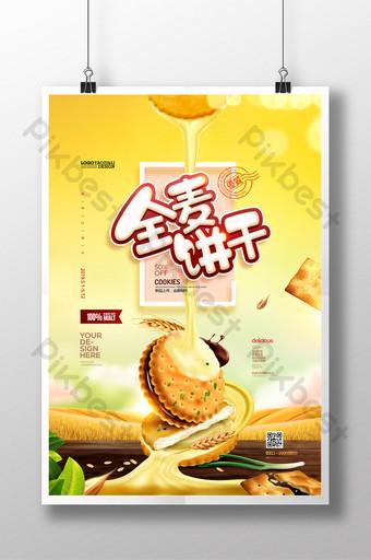 biskuit gandum memanggang camilan kue poster makanan yang indah Templat PSD