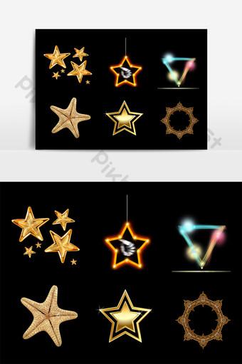 金色五角星裝飾 元素 模板 PSD