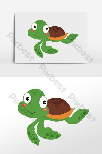 dibujado a mano vida marina criatura de agua ilustración de tortuga marina Elementos graficos Modelo PSD