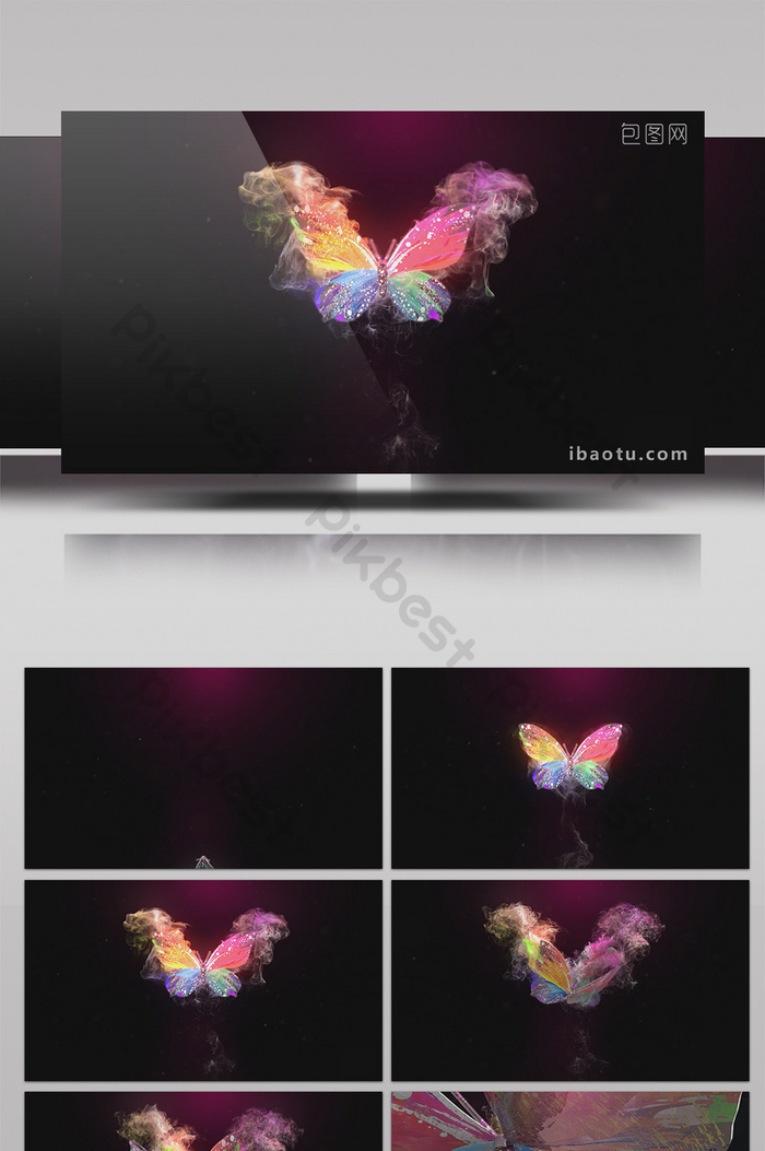 particle smoke butterfly flying dance logo interpretation film head ae template