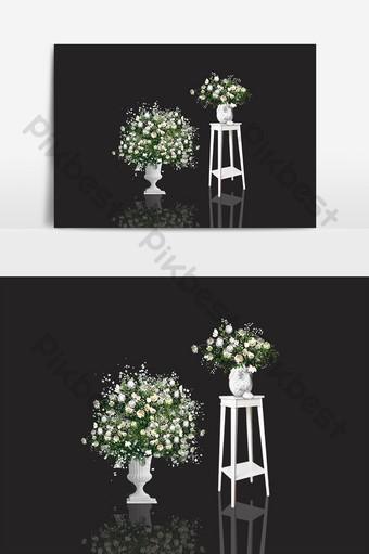 美麗的韓國婚禮裝飾舞台花架床罐 元素 模板 PSD