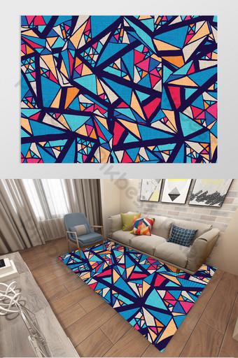 creativo estilo nórdico simple triángulo costura geométrica sala de estar patrón de alfombra Decoración y modelo Modelo AI