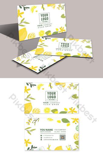 Carte de visite de magasin de boissons de jus de fruits de petite plante japonaise fraîche Modèle PSD