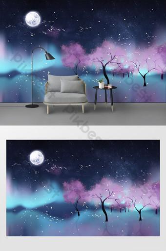 Mur de fond moderne beau ciel étoilé lune arbres paysage Décoration et modèle Modèle PSD