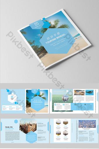 Conception de paquet de brochure de voyage frais bleu simple et de style Modèle PSD