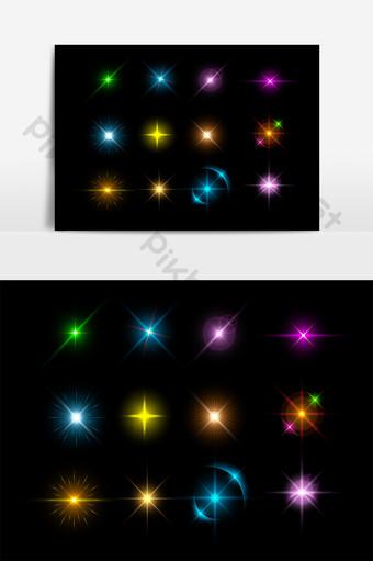 矢量彩色星星發光效果元素 元素 模板 AI
