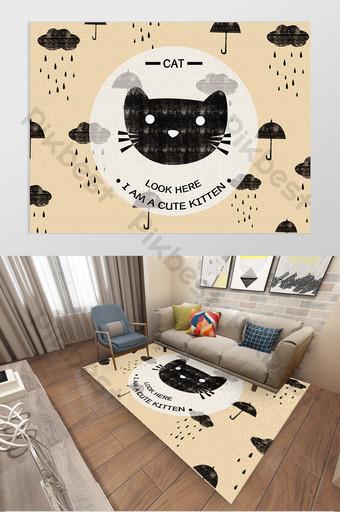 pola karpet kamar anak kucing kartun gaya nordic digambar tangan Dekorasi dan model Templat PSD