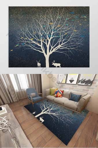 Modèle de tapis de salon de paysage de wapiti d'arbres de ciel étoilé romantique de style nordique Décoration et modèle Modèle PSD