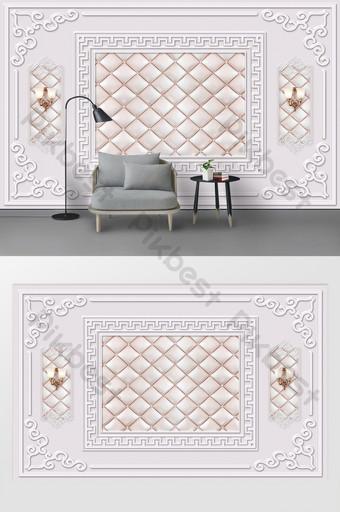 現代北歐石膏線皮革軟包電視背景牆 裝飾·模型 模板 PSD