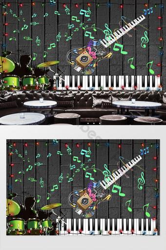 ملاحظات الموسيقى الرائعة الإبداعية الغيتار كرنفال النيون الأدوات خلفية الجدار الديكور والنموذج قالب PSD