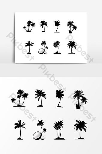 silueta de coco de arbol negro Elementos graficos Modelo AI