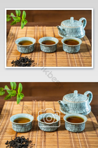 Ceramic teacup tea set Chinese style black posing HD picture Photo Template JPG