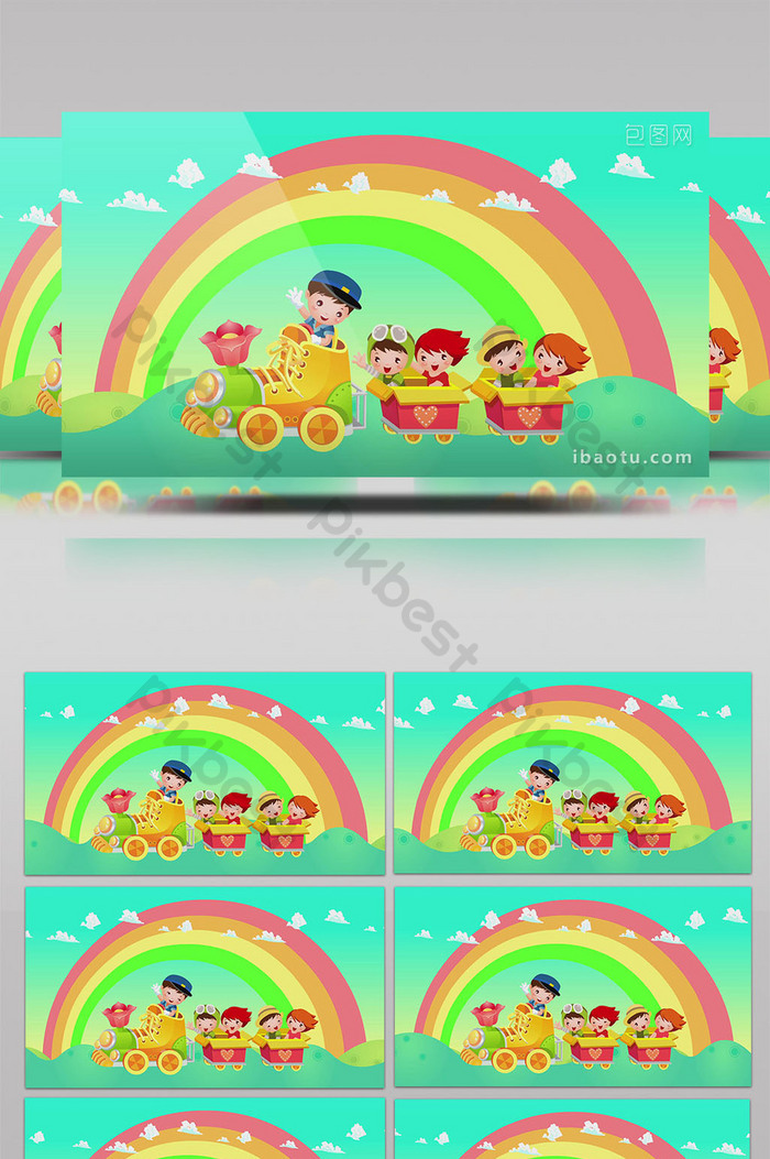 Cartoon rainbow train child background | Video template MP4