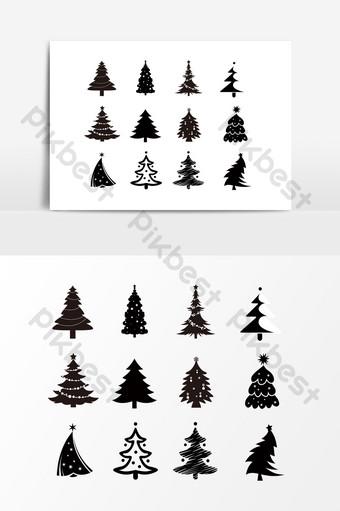 Gambar Pohon Natal Hitam Template Psd Png Vektor Download Gratis Pikbest