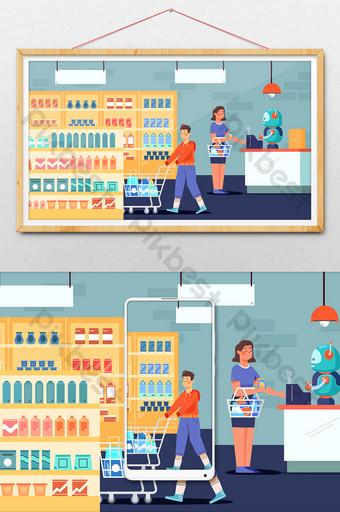 supermercado inteligente compras inteligencia artificial robot banner cuenta pública ilustración Ilustración Modelo AI