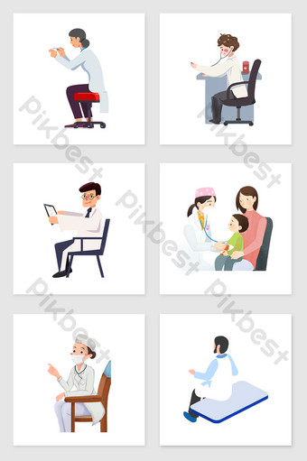 Hand drawn sitting doctor and patient set of diagram illustration elements Illustration Template PSD