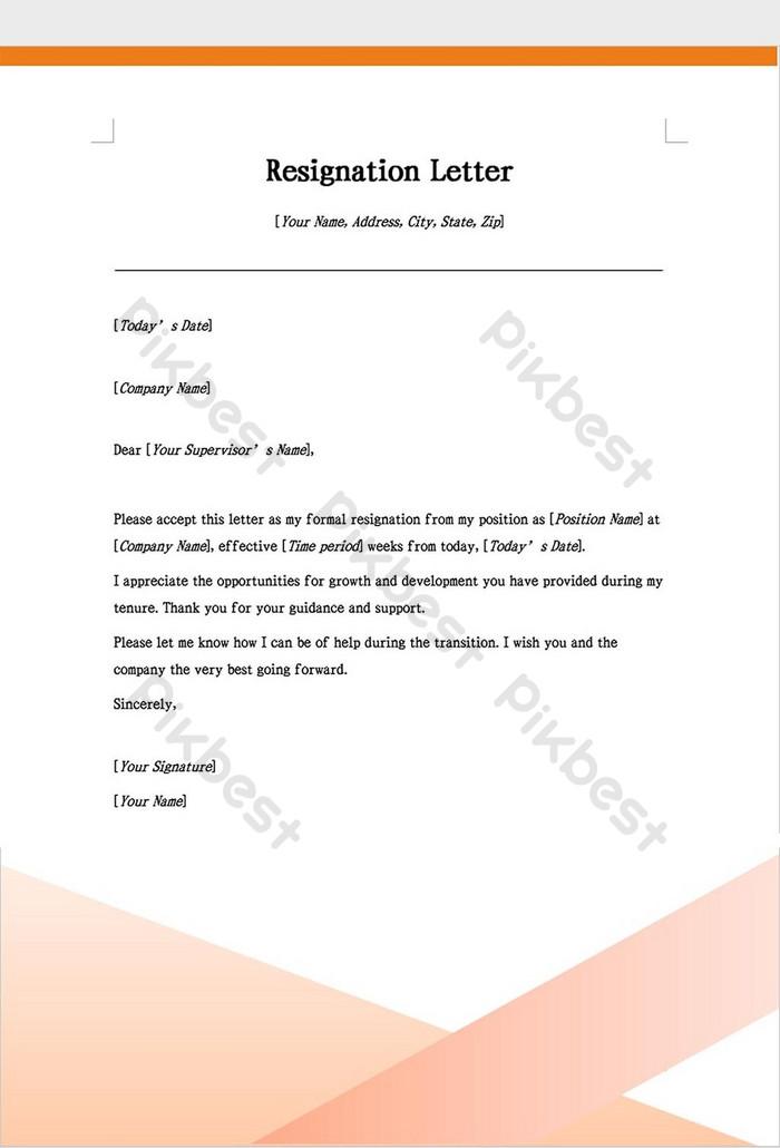 Plantilla De Word Carta De Renuncia En Inglés Word