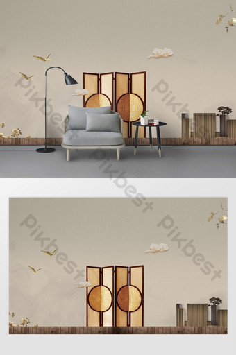 Chinese antique flower window screen book case palace lantern scene background wall Decors & 3D Models Template PSD