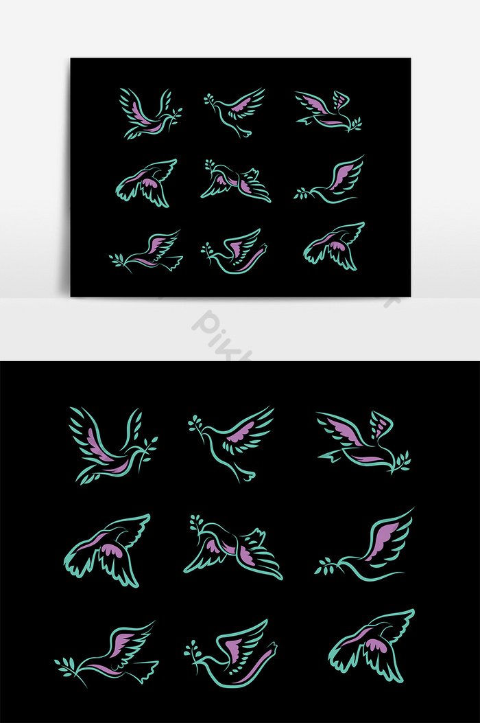 Peace dove animal flying silhouette | Graphic Elements