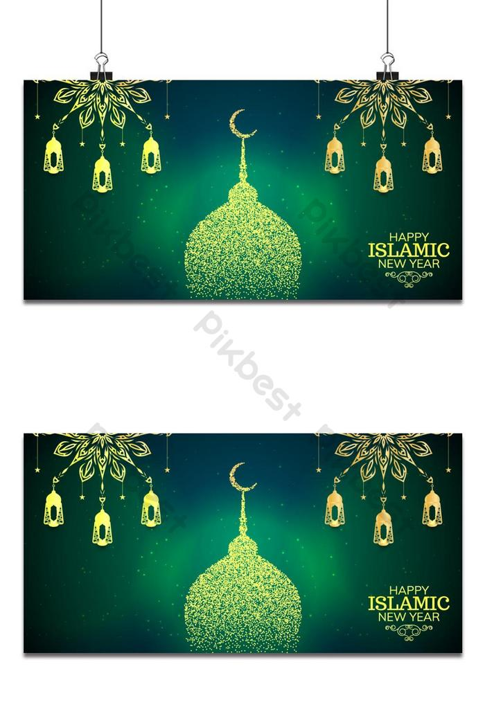 Islamic New Year Green Background | Backgrounds template AI
