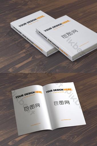 diseño de escena de maqueta de libros de apilamiento de piso de madera simple Modelo PSD