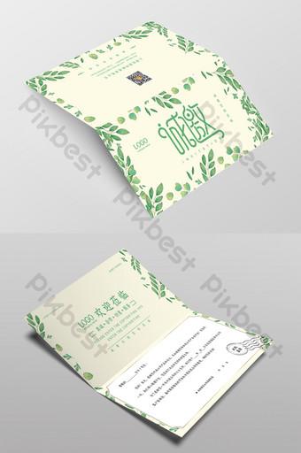 Invitation de printemps et d'été de feuilles d'aquarelle verte fraîche Modèle PSD