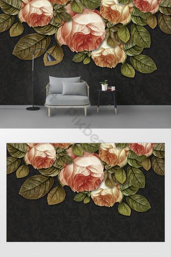 pared de fondo de patrón de relieve de rosa de textura de arte moderno 3d Decoración y modelo Modelo PSD