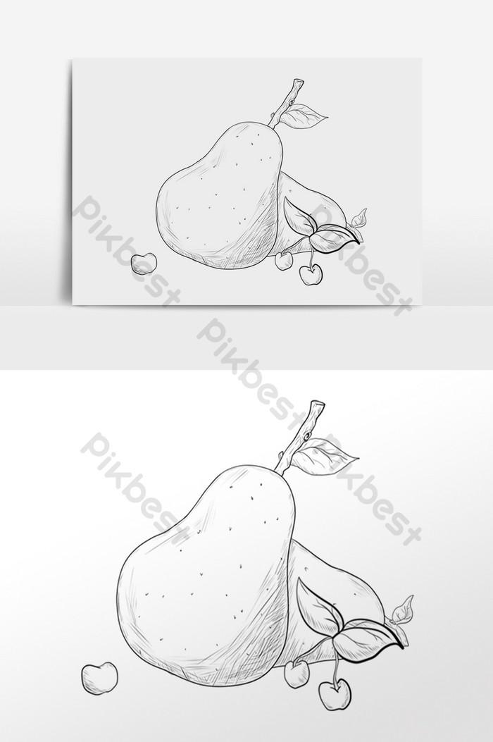 Рисованной линии рисования эскиза фруктов груши вишни иллюстрации