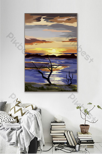 Personalized hand-painted sea sunset scenery living room decoration painting Decors & 3D Models Template PSD