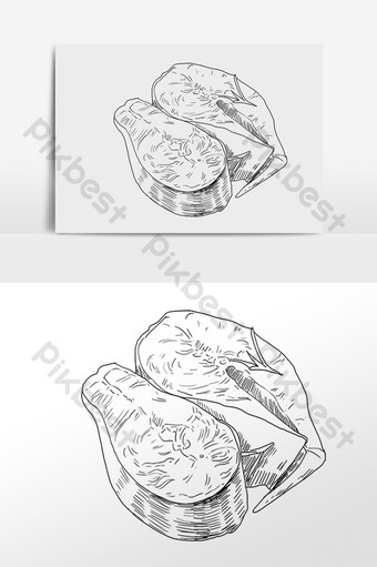 Hand drawn line drawing sketch seafood creature oyster illustration PNG Images Template PSD