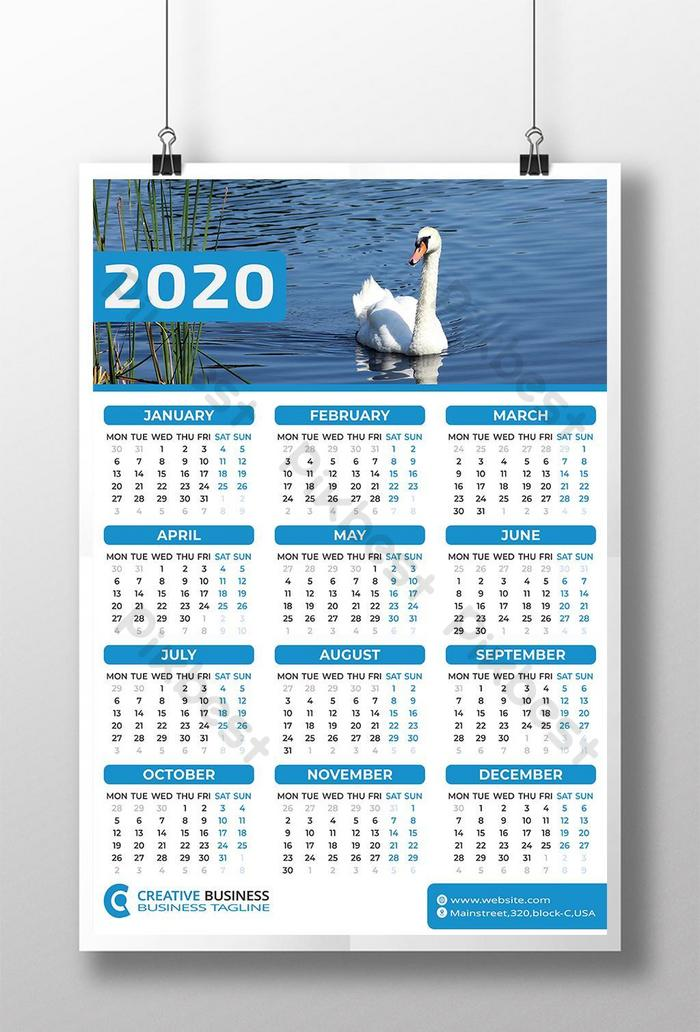 one page wall calendar 2020