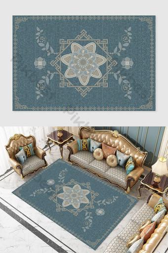 北歐簡約風格藍色背景印花圖案紋理地毯 裝飾·模型 模板 PSD