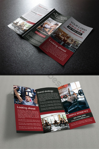 Conception de trois pages pliantes de dépliant de sport d'exercice de remise en forme Modèle PSD
