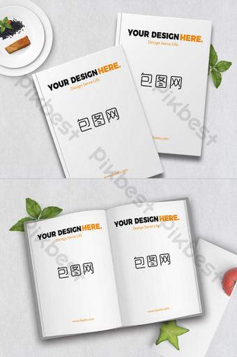 簡單的午餐書手冊樣機場景設計 模板 PSD