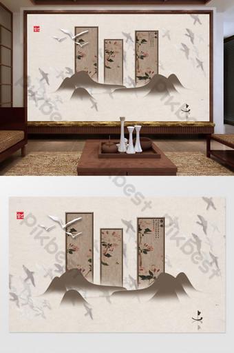 الصينية الجديدة gongbi زهرة والطيور شريط خلفية شاشة الجدار الديكور والنموذج قالب TIF