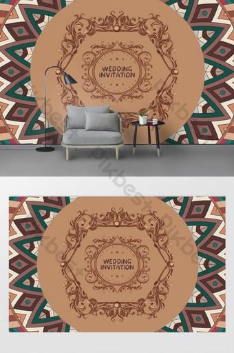 現代簡約大馬士革圖案無縫拼接臥室背景牆 裝飾·模型 模板 TIF