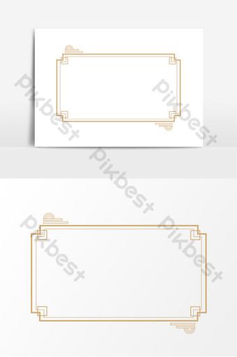 中式複古金色邊框 元素 模板 PSD