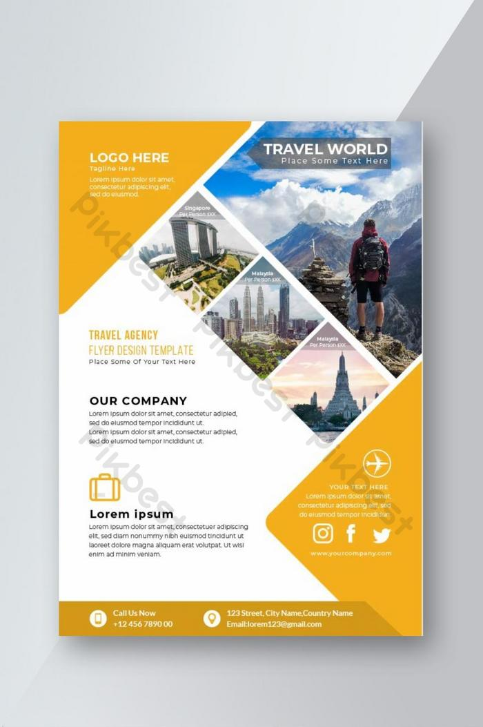 Travel Agency Flyer Design Template   template AI Free