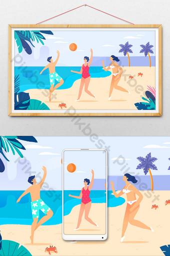 كارتون شاطئ البحر لعب عطلة الصيف سفر كبير راية التوضيح الرسم التوضيحي قالب AI