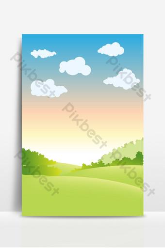 cielo azul puesta de sol nubes blancas hierba fondo de decoración de negocios simple Fondos Modelo PSD