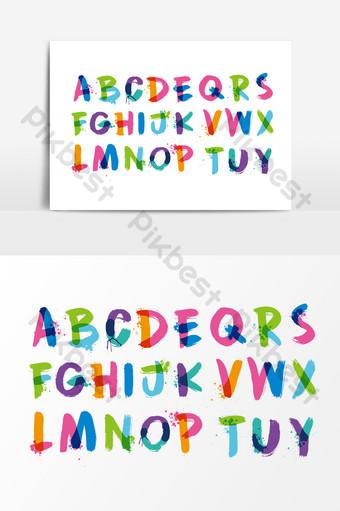 彩色油漆英文字母設計 元素 模板 AI