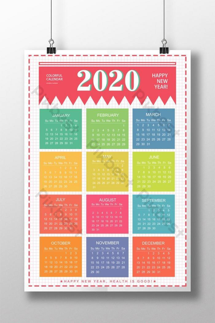 Kalender 2020 desain poster berwarna-warni | templat PSD ...