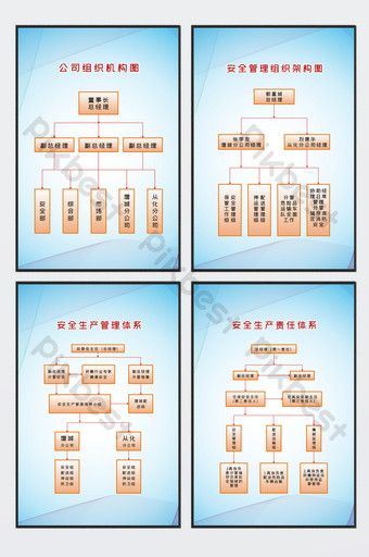 Four-piece set of blue line simple safety production architecture diagram Template CDR