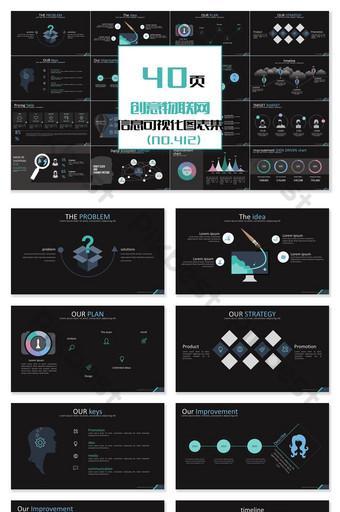 40頁創意物聯網信息可視化ppt圖 PowerPoint 模板 PPTX