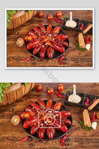 辣小龍蝦大蒜辣椒五香木桌食品攝影圖片 攝影圖 模板 JPG