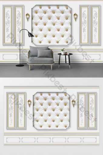 الحديث الأنيق لينة الغلاف الجص خط الجدار مصباح خلفية غرفة المعيشة الديكور والنموذج قالب PSD