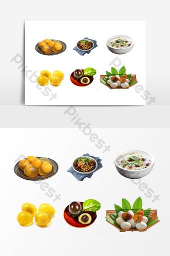 Food set plate preserved egg design element Template PSD